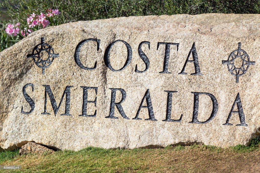 Costa Smeralda sign in Sardinia stock photo
