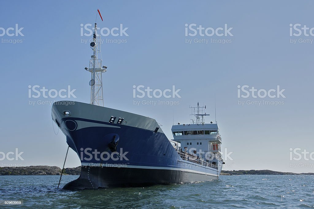 Costal tanker at anchor stock photo