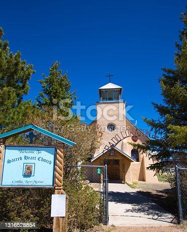 Costilla, NM: Sacred Heart Church, an adobe church in Taos County, NM.