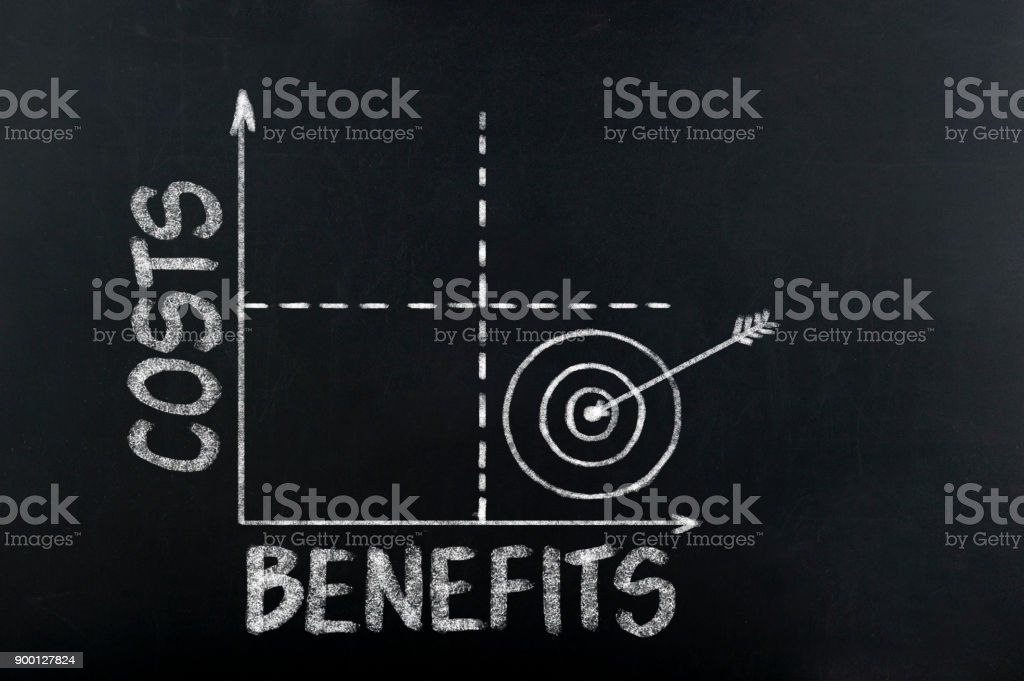 Costs and benefits graph stock photo