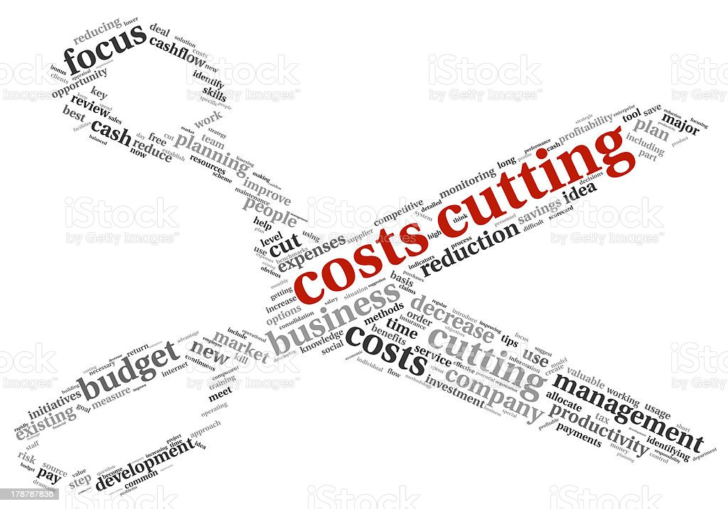 Costs cutting concept represented by scissors and key words royalty-free stock photo