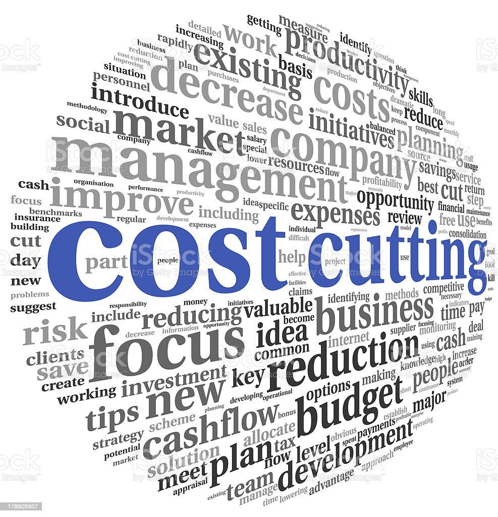 Costs cutting concept with words royalty-free stock photo