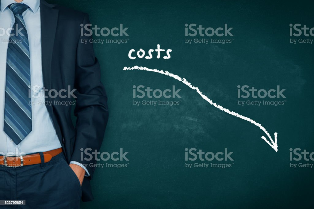Costs reduction, costs cut, costs optimization business concept stock photo
