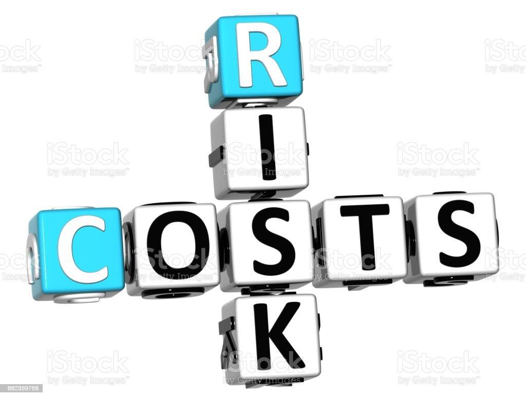 3D Costs Risk Crossword cube words zbiór zdjęć royalty-free