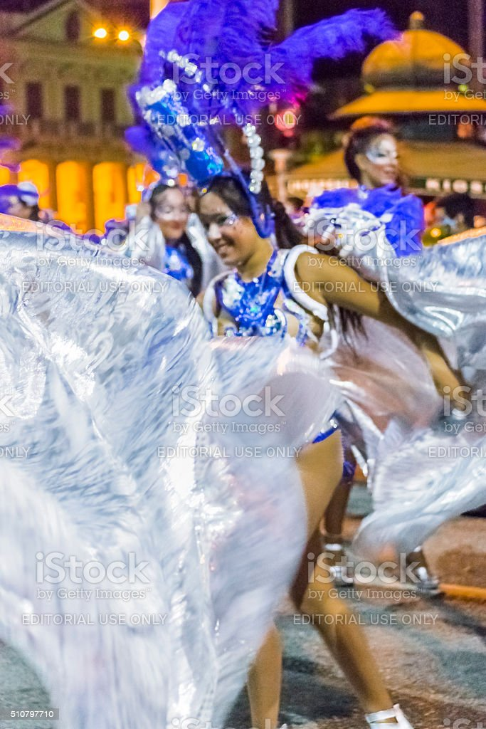 Costumed Attractive Woman Dancer at Carnival Parade of Uruguay stock photo