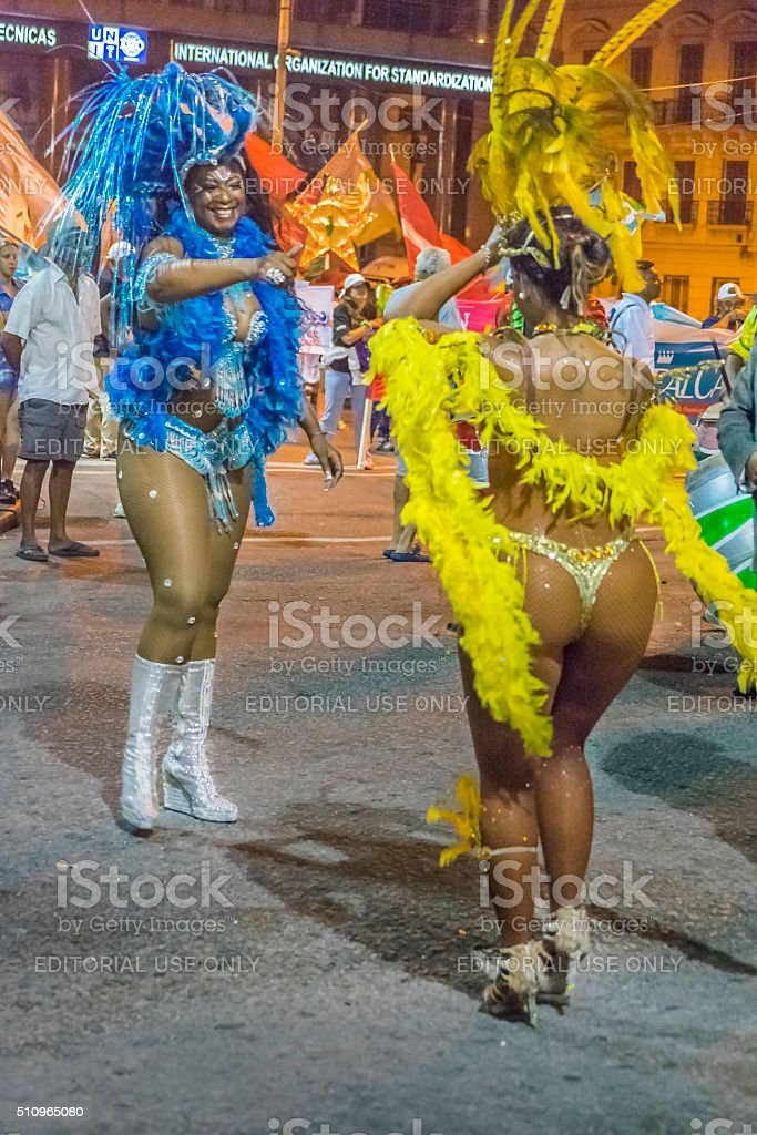 Costumed Black Women at Carnival Parade of Uruguay stock photo