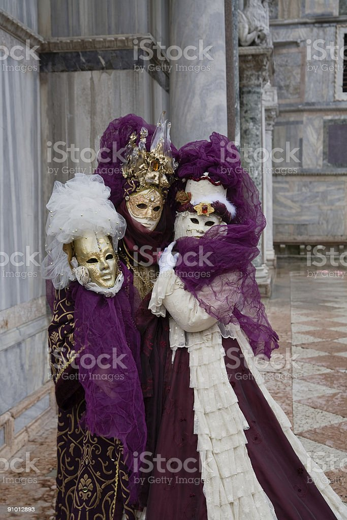 Costumed couple in venice stock photo