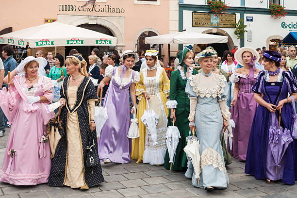 Costumed entertainers on the streets of Varazdin during Spancirfest festival stock photo
