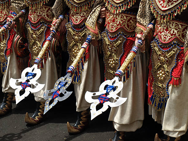 Costumes at a Moors and Christians Parade, Spain stock photo