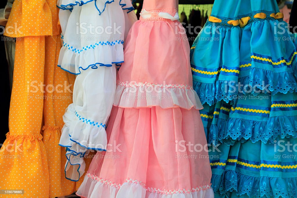 costumes gypsy ruffle dress andalusian Spain royalty-free stock photo
