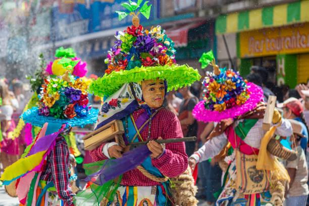 Costumes of the Carnaval Zoque Coiteco stock photo