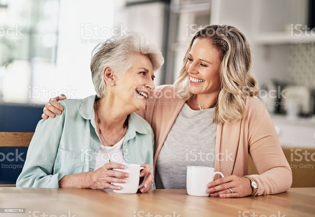 Cosy chats over coffee stock photo