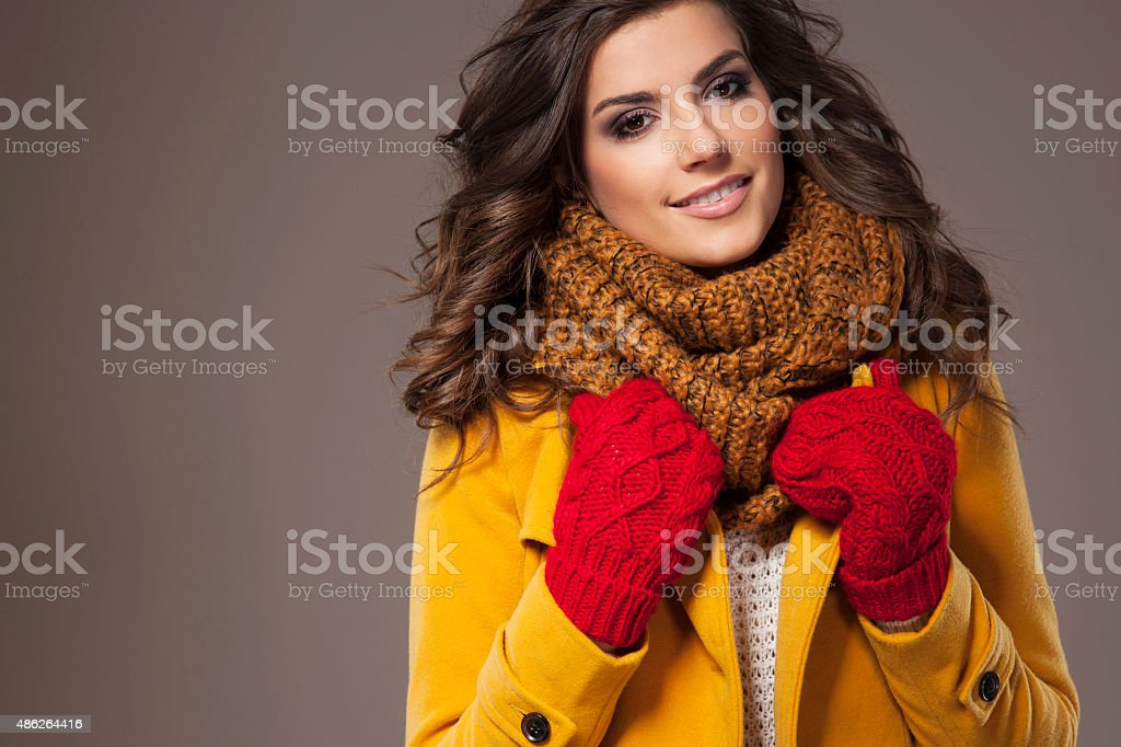 Cosy clothes is what I need outdoors stock photo