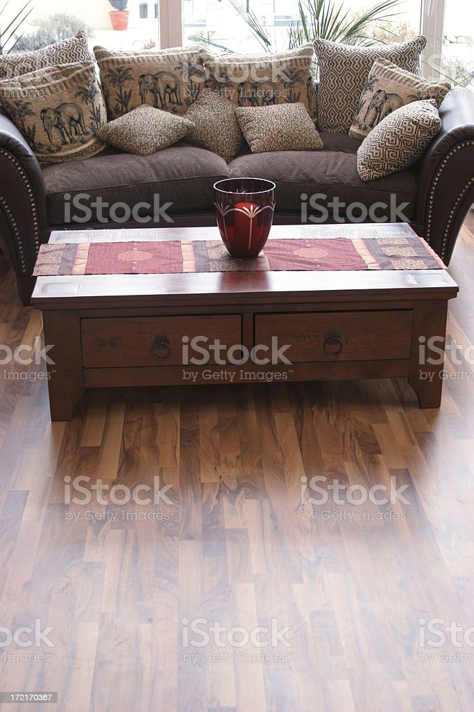 Cosy couch & table in living room royalty-free stock photo
