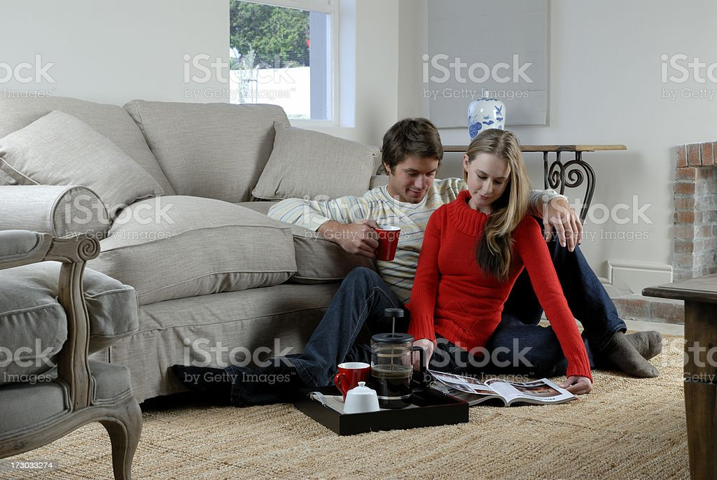 Cosy couple in living room royalty-free stock photo