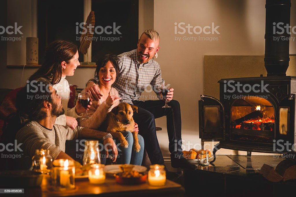 Cosy Drinks by the Fire stock photo