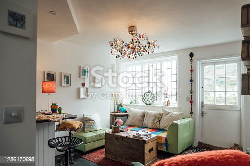 Cosy living room in a home in Polperro, Cornwall.