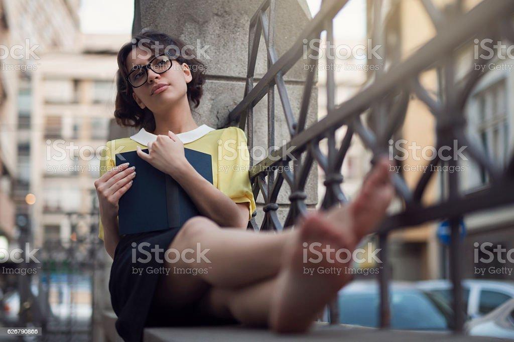 Cosy reading spot stock photo