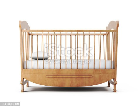 istock Cot bed isolated on white background. 3d rendering 611096208