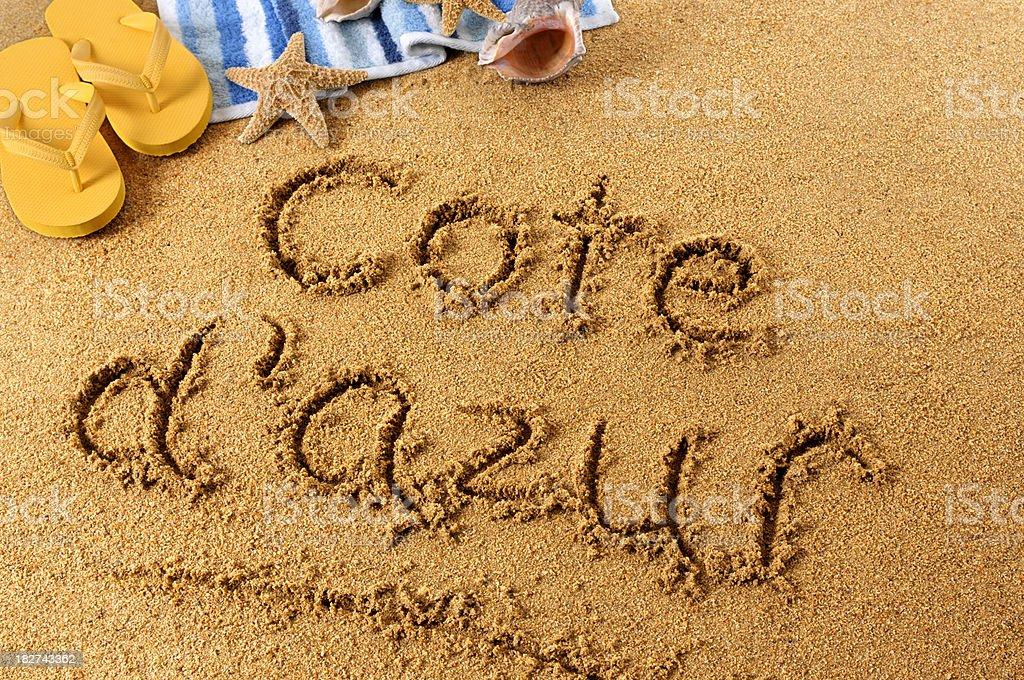Cote d'Azur beach writing royalty-free stock photo