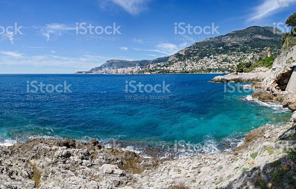 Cote d'Azur View of Monaco from Roquebrune-Cap-Martin stock photo