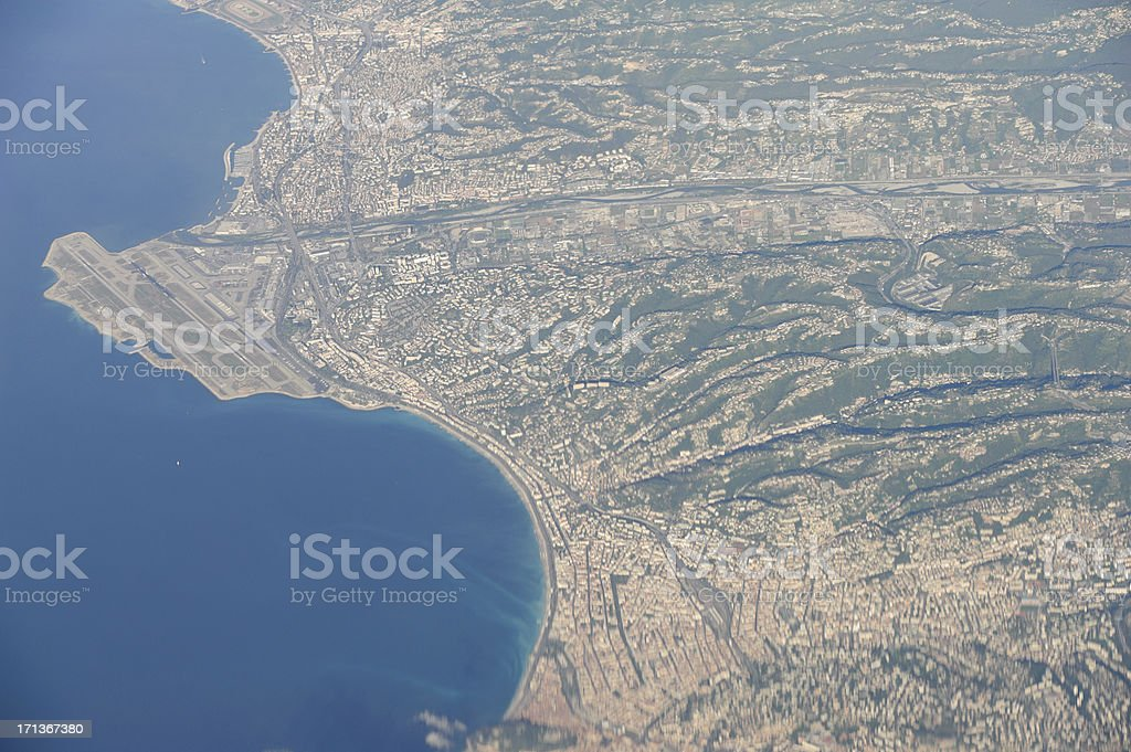 cote d'azure seen from the air stock photo
