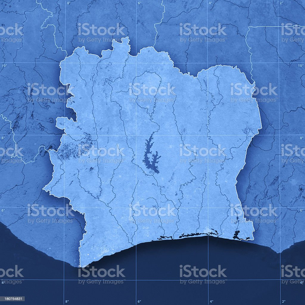 Cote d'Ivoire Topographic Map royalty-free stock photo