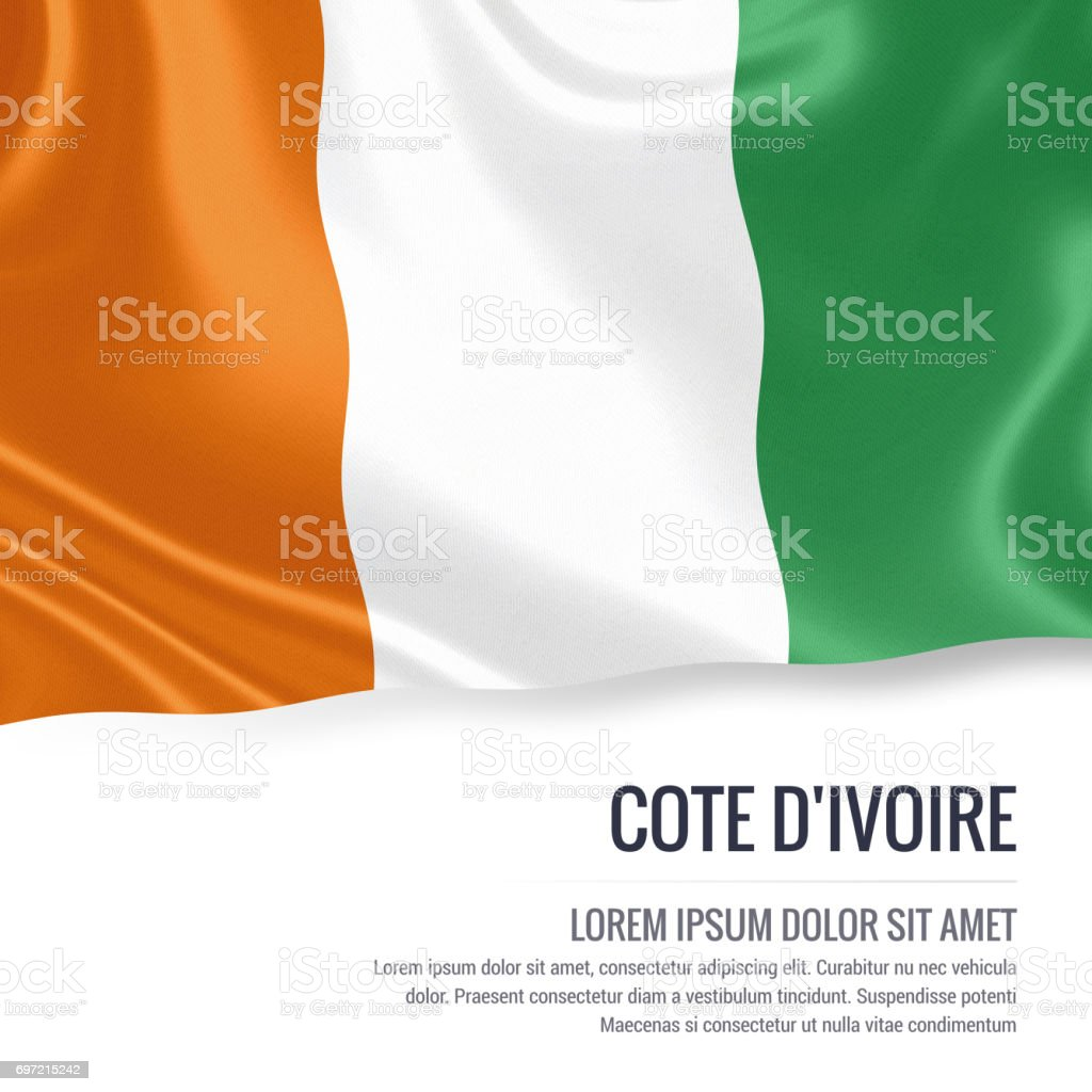 Cote D'ivorie flag. Silky flag of Cote D'ivorie waving on an isolated white background with the white text area for your advert message. 3D rendering. stock photo