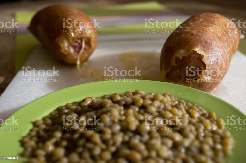 cotechino and lentils stock photo