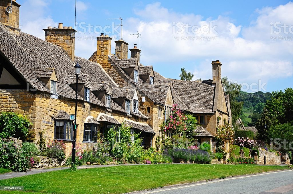 Cotswold cottages, Broadway. stock photo