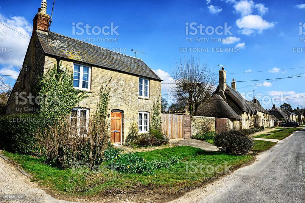 Cotswold Cottages in Minster Lovell, England stock photo