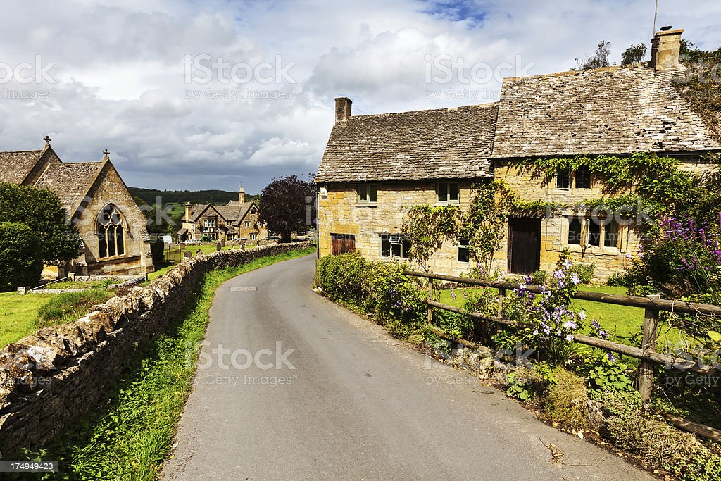 Cotswold cottages in Snowshill, Gloucestershire, England stock photo