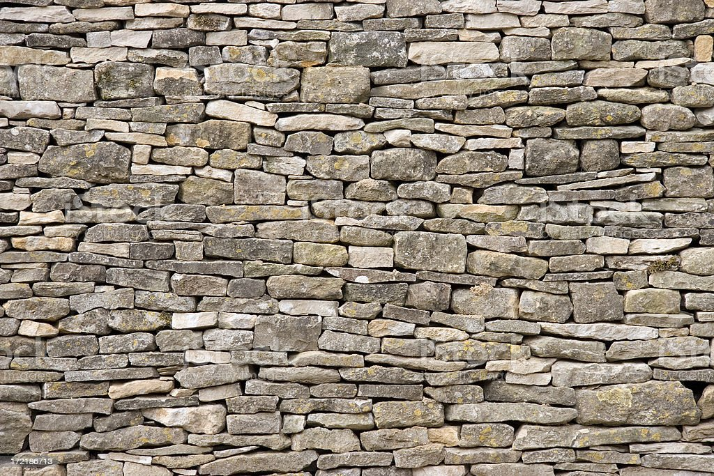 Cotswold dry stone wall stock photo