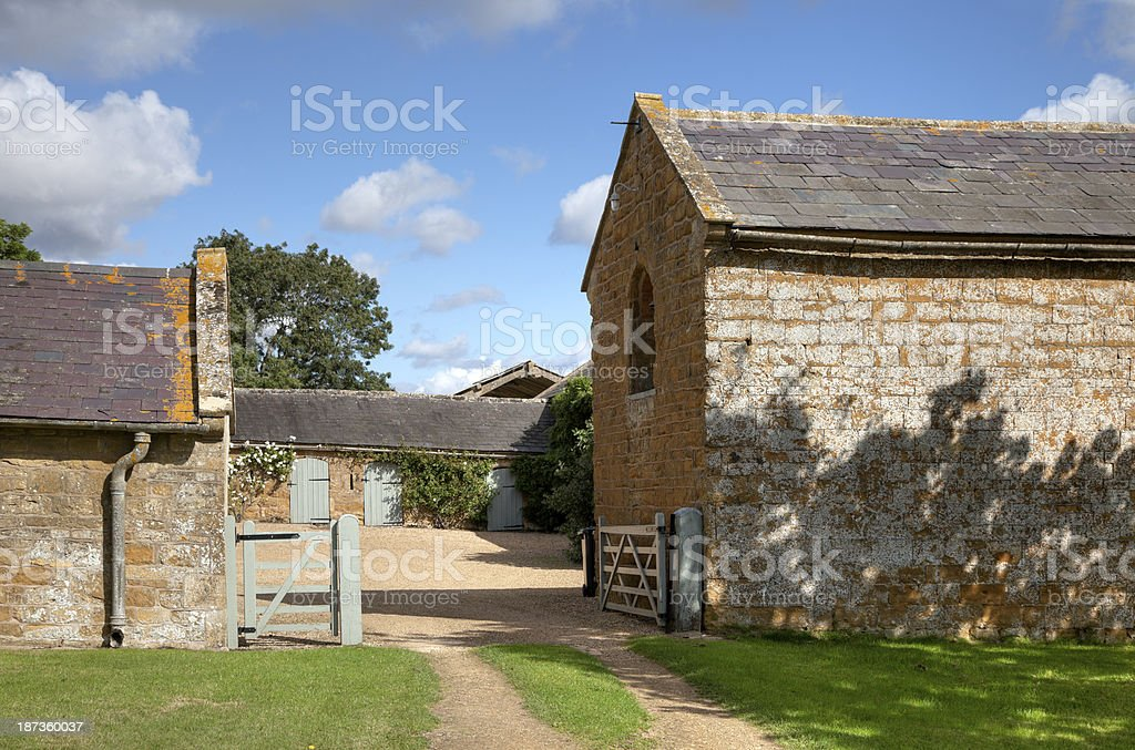 Cotswold farmyard stock photo