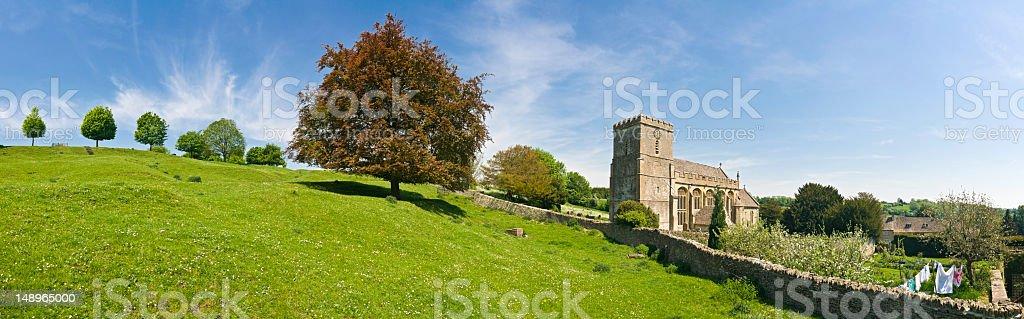 Cotswold picturesque village vista stock photo
