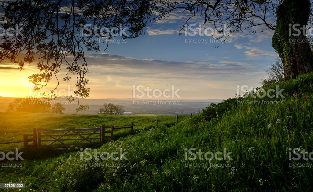 Cotswold Sunset stock photo