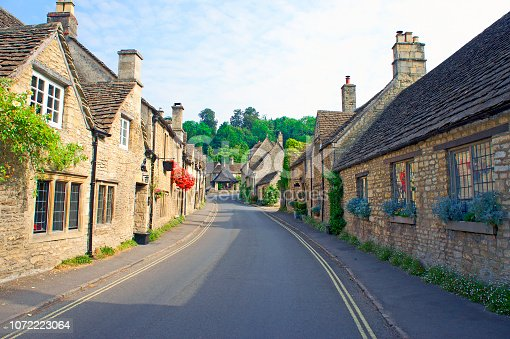 Street in the Cotswolds village of Castle Combe, UK