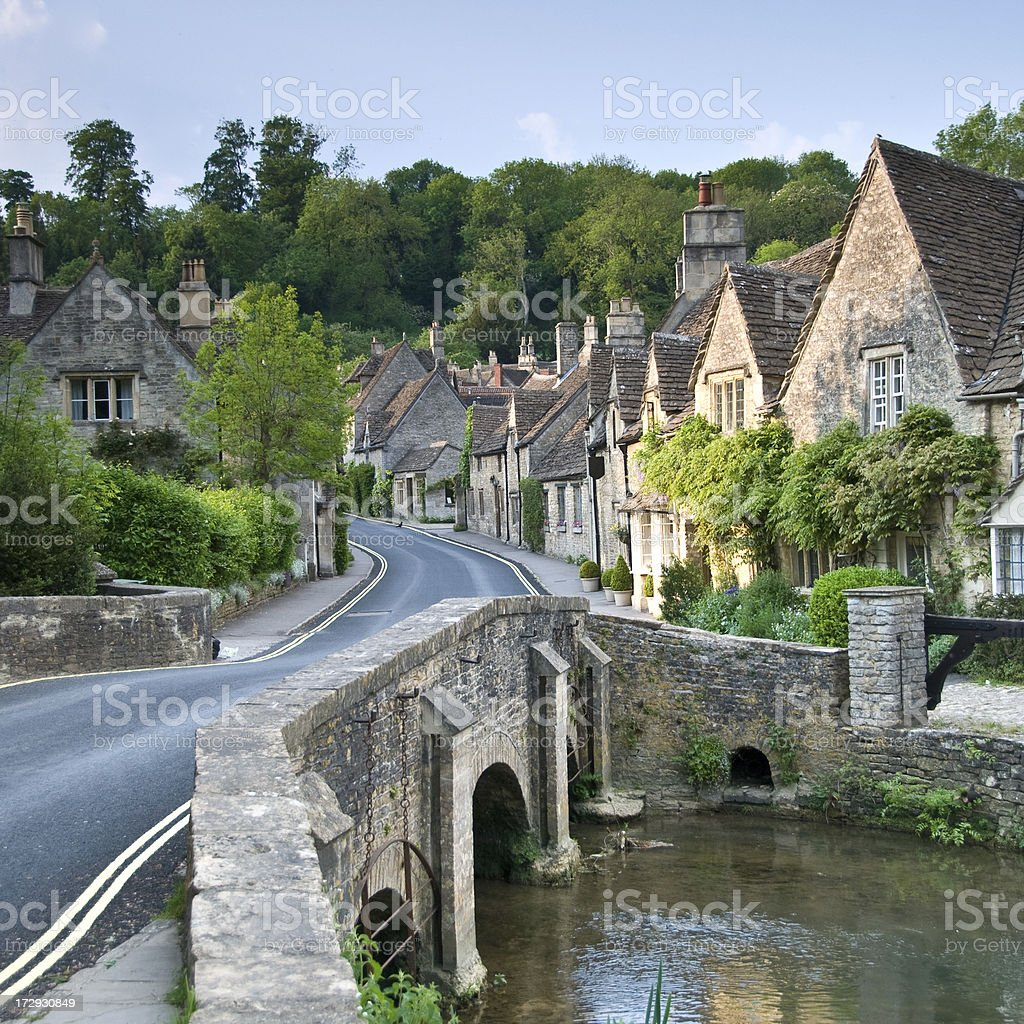 Cotswold Village Scene stock photo