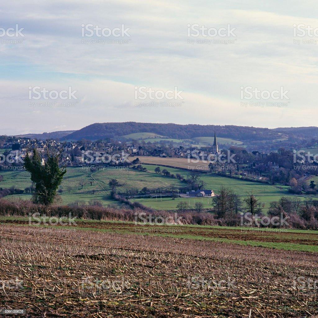 Cotswolds winter view towards Painswick stock photo