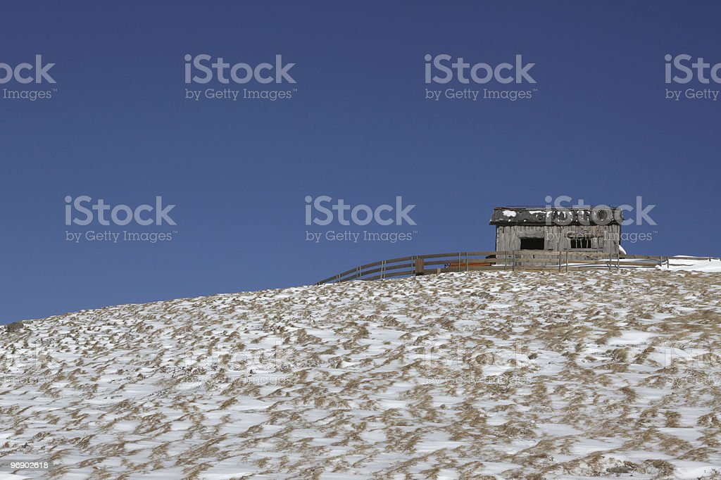 Cottage and snow in PyeongChang ,Korea royalty-free stock photo