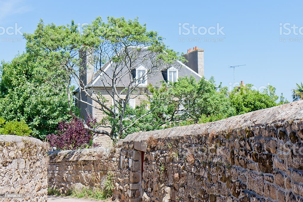 Cottage at the island of lle de Brehat, Brittany, France royalty-free stock photo