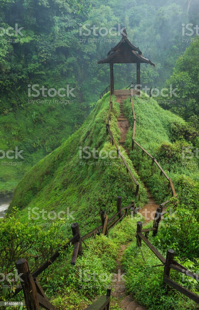 Cottage at waterfall in South Laos stock photo