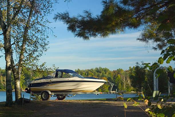 Cottage Boat stock photo