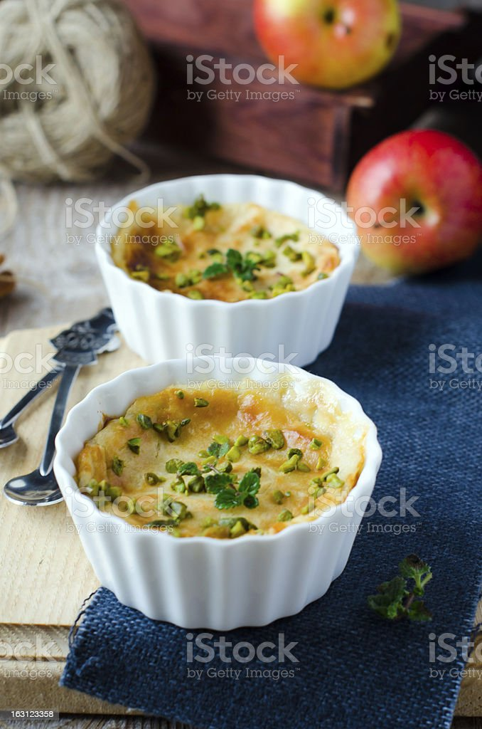 Cottage cheese and Apple souffle stock photo