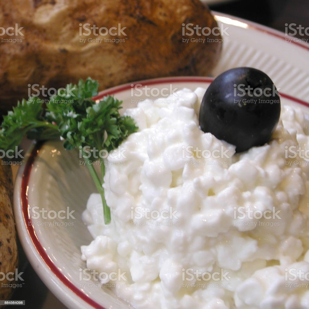 Tremendous Cottage Cheese And Baked Potato Stock Photo Download Image Interior Design Ideas Gentotryabchikinfo