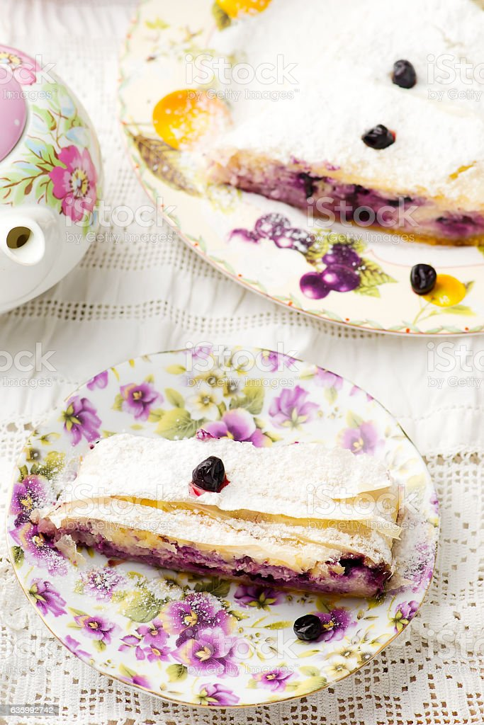 Cottage cheese and blueberry strudel..selective focus. stock photo