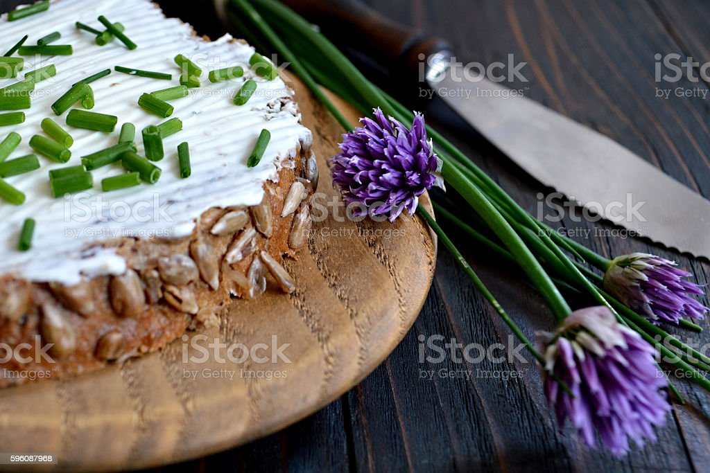 Cottage cheese and chives royalty-free stock photo