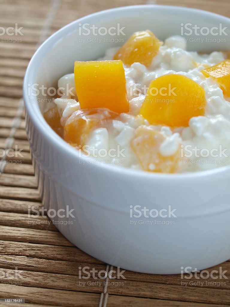 Cottage Cheese and Peaches stock photo
