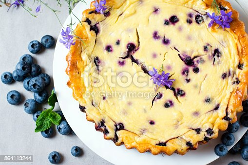 Cottage Cheese Casserole With Blueberries Stock Photo & More Pictures of Baked