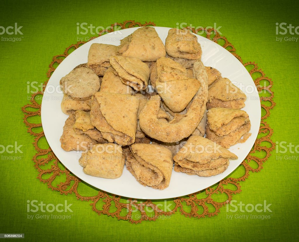 Cottage cheese cookies with cinnamon stock photo